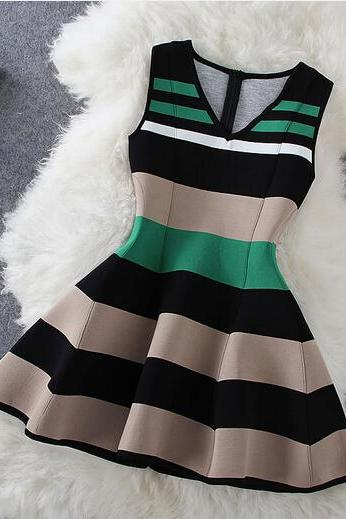 Fashion Stripe Sleeveless V-Neck Dress AX092113ax