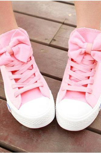 High Help Lovely Bowknot Canvas Shoes #092110KX