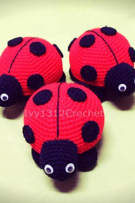Ladybug 5.11' - Handmade Amigurumi Crochet Doll Birthday Gift Baby Shower Toy (Price For Each Item)