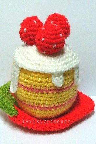 Strawberry Cake 5.51' - Handmade Amigurumi Crochet Cake Home Decor Birthday Gift Baby Shower Toy