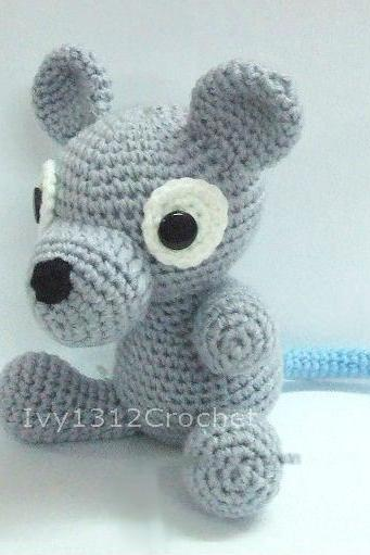 Grey Mouse 6.7' - Handmade Amigurumi crochet doll Home decor birthday gift Baby shower toy