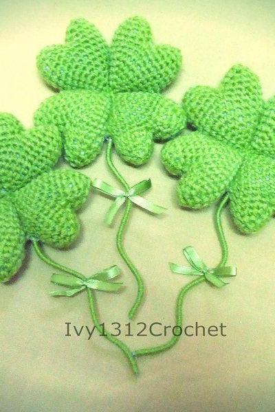 Four-leaf clover 5.9' - Handmade Amigurumi Decor Lucky gift (Price for EACH item)