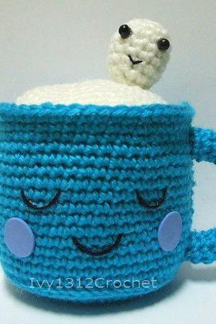 Cute Milk Cup 4.72' - Finished Handmade Amigurumi crochet doll Home decor Birthday gift Baby shower toy