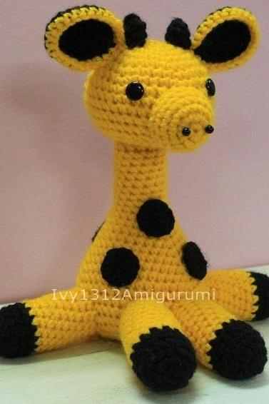 Giraffe 8.26' - Handmade Amigurumi crochet doll Home decor birthday gift Baby shower toy