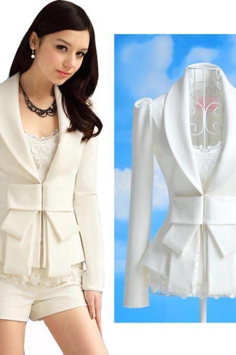 Sexy Women's Big Bowknot Career OL White Slim Suit Coats Jackets