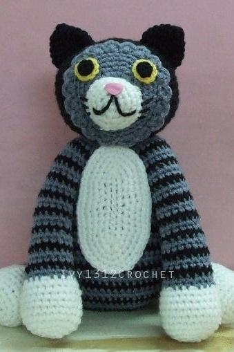 Rose the Cat 7.48' - Finished Handmade Amigurumi Crochet Doll Home Decor Birthday Gift Baby Shower Toy