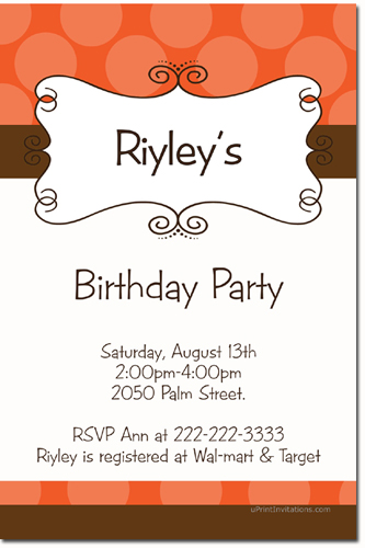 Swirly Birthday Invitations (Download JPG Immediately) Click For Additional Designs ANY COLOR SCHEME