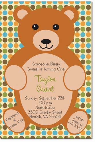 Teddy Bear Birthday Invitations (Download JPG Immediately) Click For Additional Designs ANY COLOR SCHEME