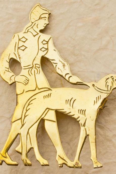 Art Deco Lady Walking The Dog Brooch - Brass 1930's