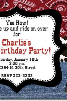 Western Cowboy Birthday Invitations (Download JPG Immediately) Click For Additional Designs ANY COLOR SCHEME