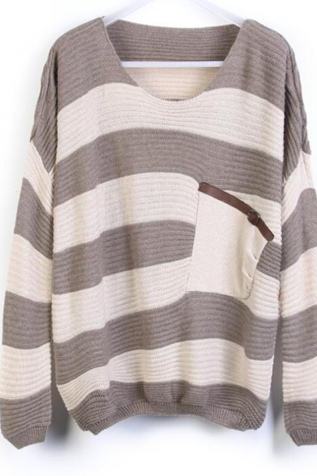 Loose stitching striped sweater #WE092105