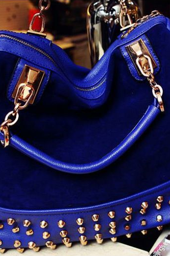 Rivets decoration blue leather messenger woman handbag