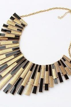 Tassel Design Metallic Gold and Black Statement Necklace