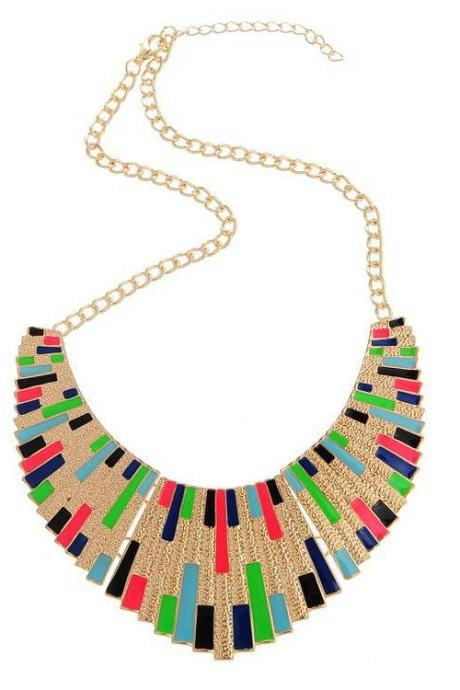 Stylish Multi Colored Tassel Design Statement Necklace