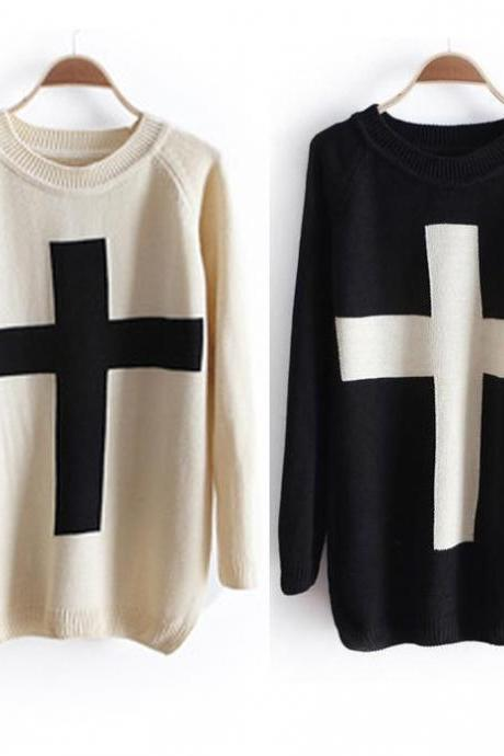 Cross Sweater Loose Sweater
