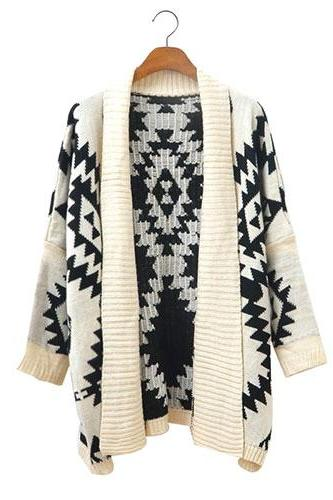 Fashion Geometric Figure Loose Cardigan