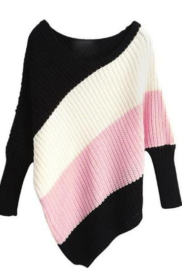 Large Boat Neck Color Block Dolman Knitting Sweater