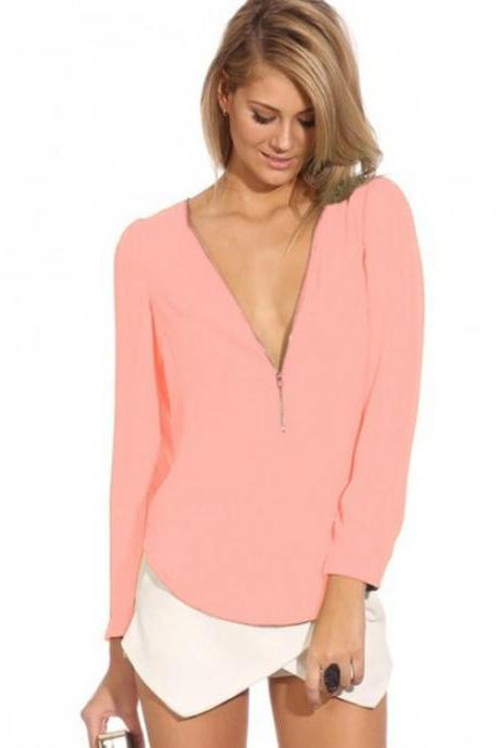 Fashion v-neck long-sleeve zipper design reliable chiffon blouse