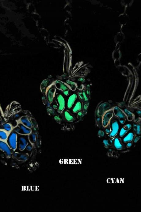 Free Shipping Glow in the dark poisoned apple necklace,glow pendant necklace,Halloween jewelry,Wedding jewelry ,Wedding necklace