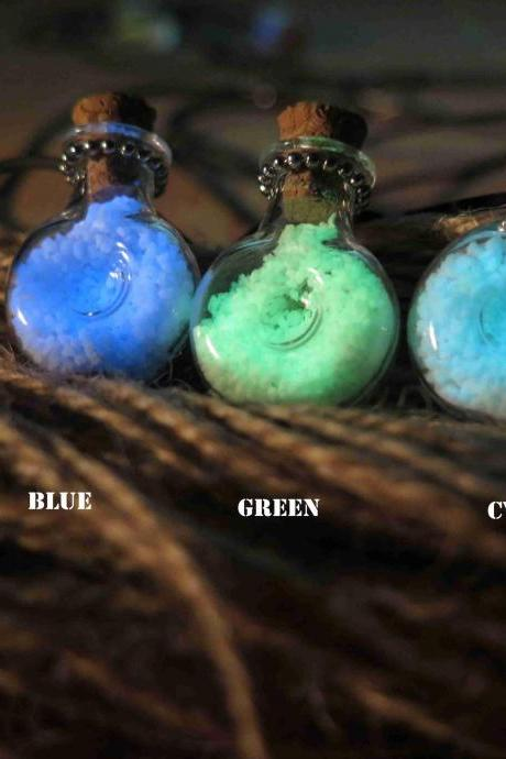 Free Shipping XO Bottle Glow in the Dark Potion Jar Necklace, Glass Vial, Cork Jar, Glow in the Dark Glitter, Glowing Necklace,Wedding necklace