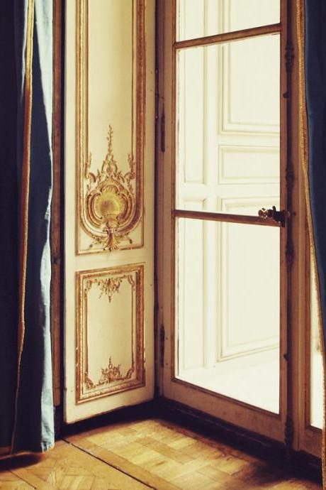French Doors - Versailles - France Paris - Blue Gold White - 8x10""