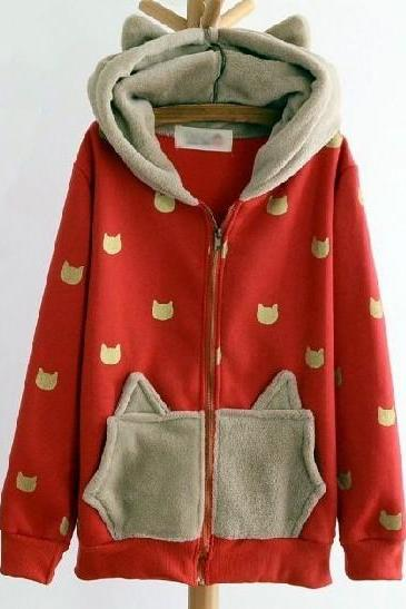 Fashion Lovely Cat Hoodie Jacket In red