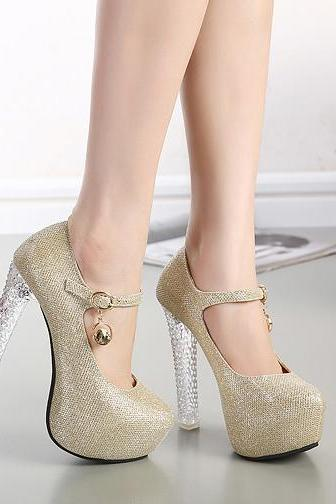 Gorgeous Crystal Heel Metallic High Heel Shoes