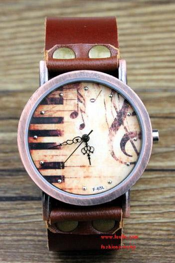 Leather Women Watch - Leather Women Wrist Watch Special Music Piano Keys Pattern