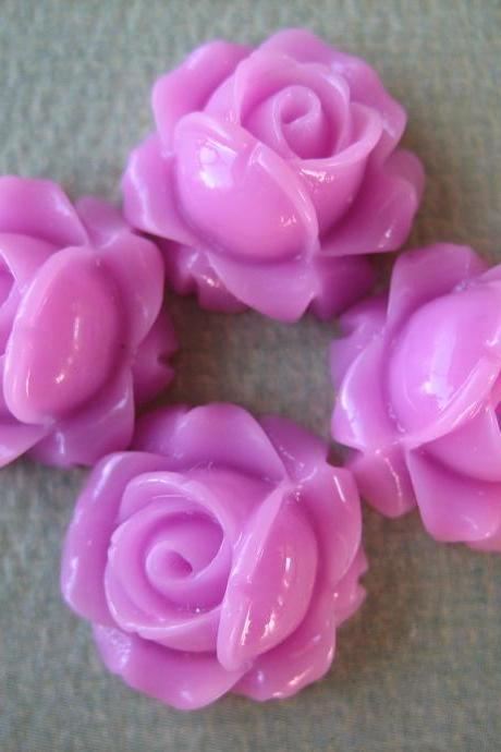 4PCS - Cabbage Rose Flower Cabochons - 15mm - Resin - Lavender - Findings by ZARDENIA