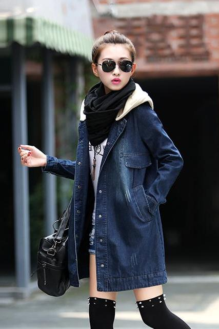 Autumn Latest Denim Coat Cozy Personality Hooded Neck Single-breasted Long Sleeve Women Daily Wear Coat