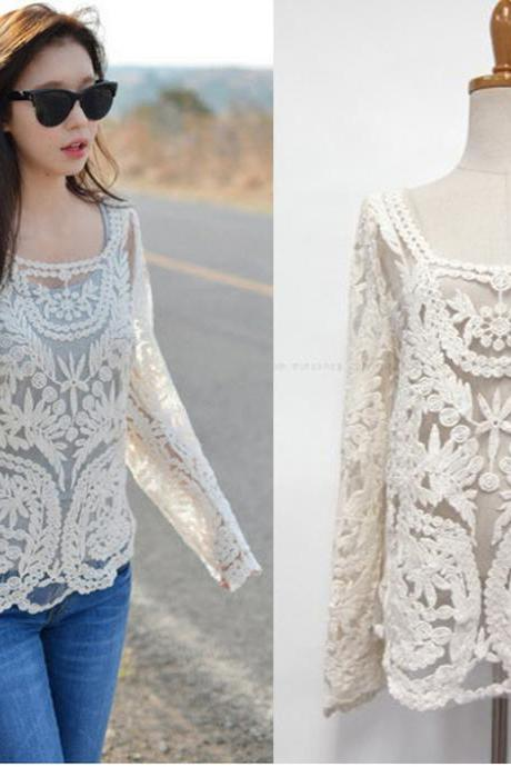 Beige Hollow Out Long Sleeve Crochet Lace Blouse Tops For Women