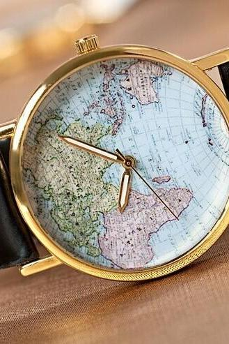 The world map Leather Women Watch -Vintage Style Leather Watch, Women Watches, Unisex Watch, Black Leather Watch,