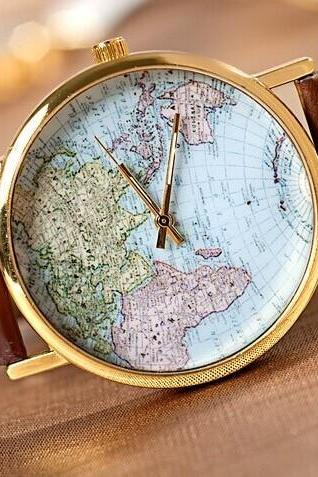 The world map Leather Women Watch -Vintage Style Leather Watch, Women Watches, Unisex Watch, Brown Leather Watch,