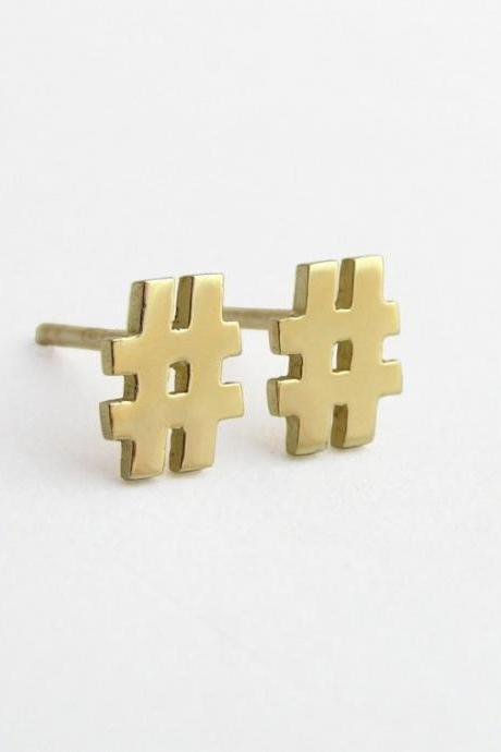 14k Gold Hashtag Stud Earrings - Solid Gold Hash symbol - Tag Yourself!