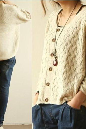 Hot Sale Loose Leather Elbow Patch Cardigan