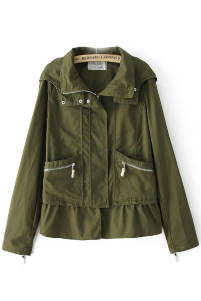 Cheap New Style Long Sleeves Zippered Pockets Design Army Green Regular Hooded Coat