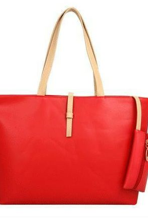 Red Faux Leather Tote Bag Featuring Slip-In Closure and Attached Pouch