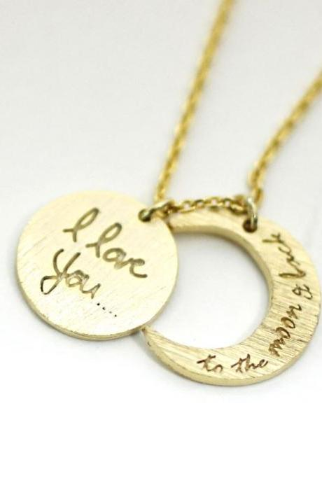 i love you to the moon and back necklace, Crescent moon Necklace Gold