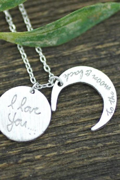 i love you to the moon and back necklace, Crescent moon Necklace Silver