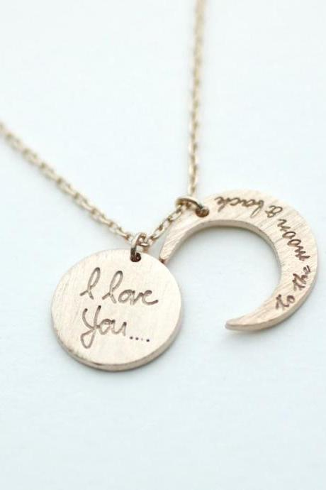 i love you to the moon and back necklace, Crescent moon Necklace Rose gold