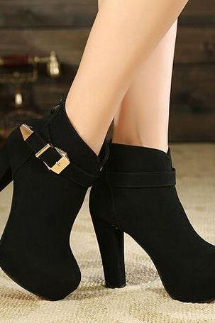 Stylish Black Suede High Heel Boots