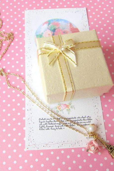 Amour Pour Eiffel Necklace - 14K Gold Plated, Pink Rose, Freshwater Pearl, Mini Eiffel Tower