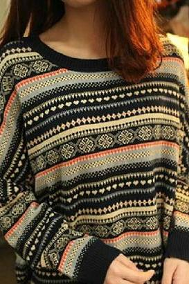 Retro Striped Pullover Sweater #092310AD