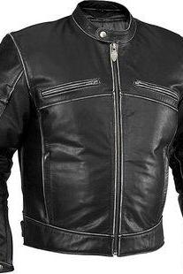Men Biker Leather Jacket, Men's Distressed Black Leather Jacket, Biker Leather Jacket