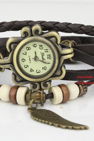 Steampunk Black Leather Watch Bracelet Ladies wristWatch Vintage Wrap Watch - birthday gift