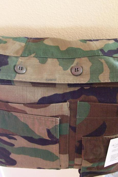 Recycled Army Shirt Daddy Diaper Bag- Woodland