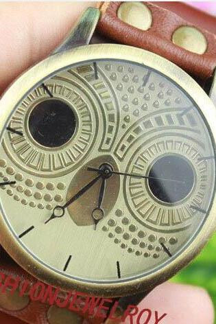 Brown leather bracelet watch cute owl watch handmade women's wrist watch vintage watch