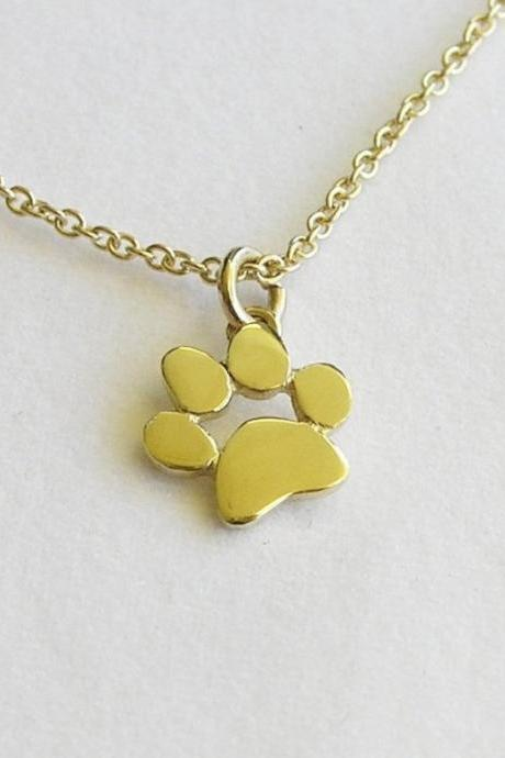 14k Gold Paw Print Necklace Pendant - Solid Gold Jewelry - Animal Jewelry - Cat and dog Lover