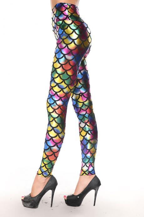 Cheap Sexy Mid Waist Metallic Rainbow Fish Scales Print Polyester Leggings