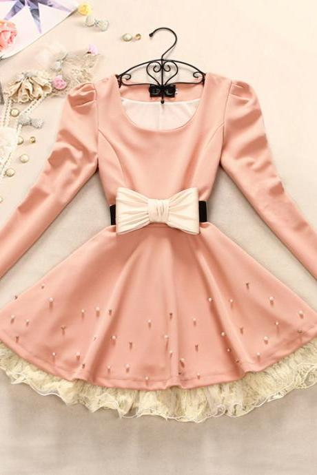 Slim sweet bow long-sleeved dress #092304KE